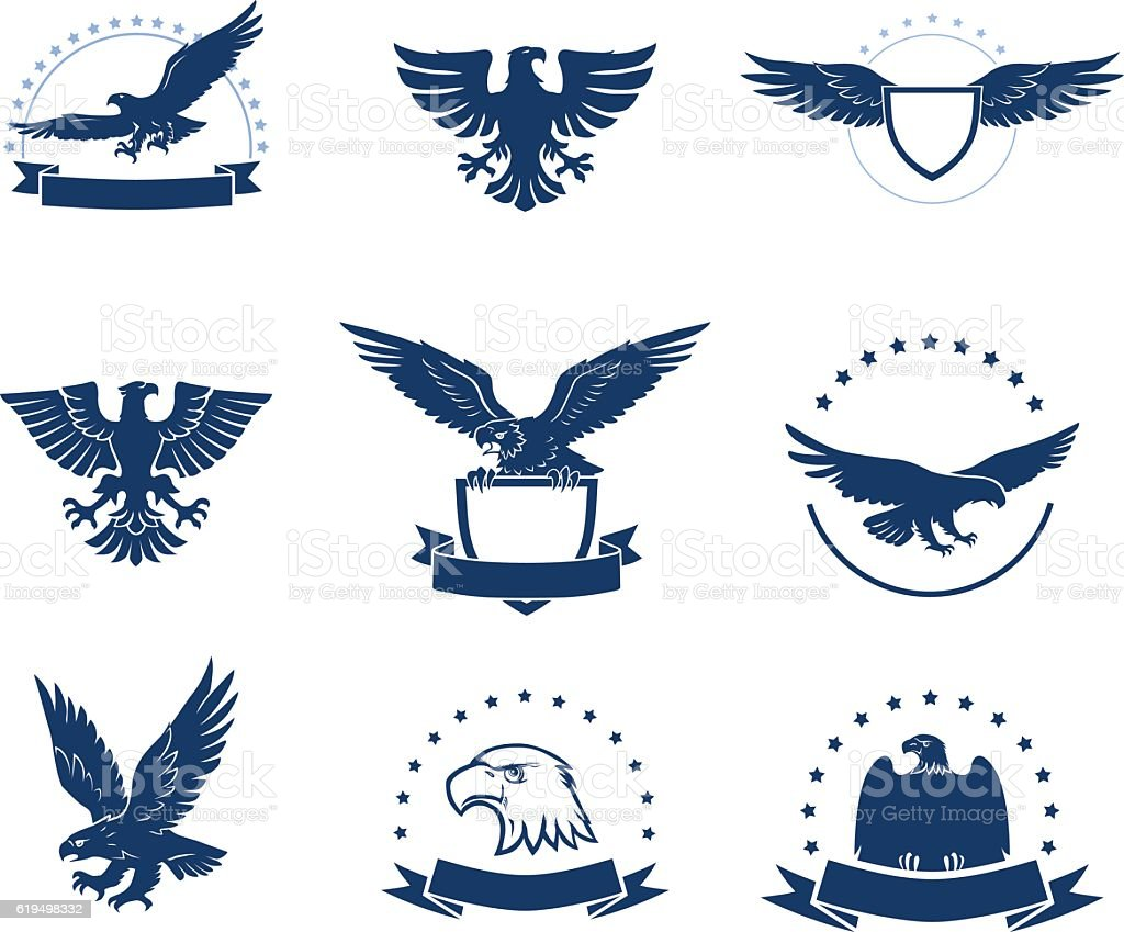 Set of eagles silhouettes vector art illustration