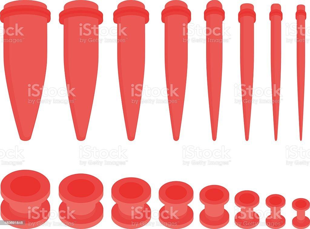 Set of ear tunnels and taper starters kit. No outline vector art illustration