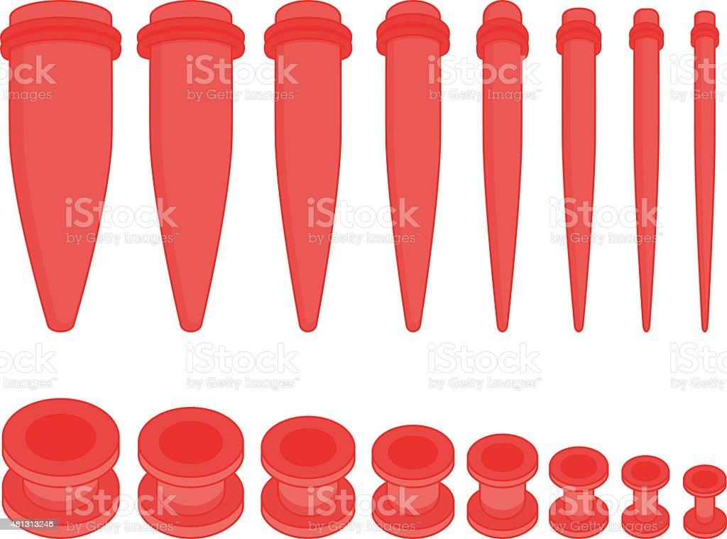 Set of ear tunnels and taper starters kit vector art illustration