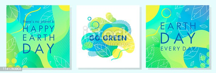 Set of Earth Day posters with bright gradient backgrounds,liquid shapes,tiny leaves and geometric elements.Earth Day layouts perfect for prints, flyers,covers,banners design and more.Eco concepts.