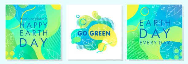 Set of Earth Day posters Set of Earth Day posters with bright gradient backgrounds,liquid shapes,tiny leaves and geometric elements.Earth Day layouts perfect for prints, flyers,covers,banners design and more.Eco concepts. earth day stock illustrations