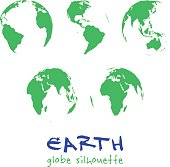 Set of Earth globes