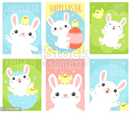 Collection of Easter banner, background, flyer, placard with cute rabbit and chicken. Holiday poster for scrapbooking. Vector template card for greeting, decoration, congratulation, invitation. EPS8