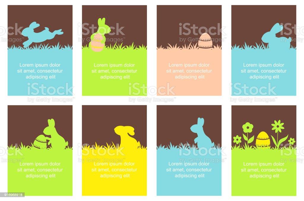 Ensemble de bannière de Pâques avec les lapins mignons - Illustration vectorielle