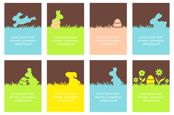 Set of Easter banner with cute rabbits vector art illustration