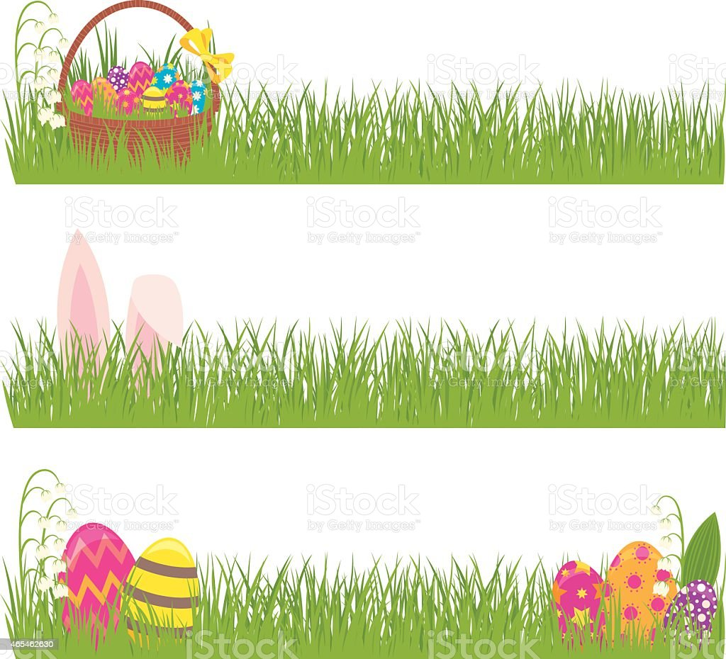 Set Of Easter Banners Grass And Easter Eggs Stock ...