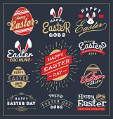 Set of Easter day typography badge and labels design. Happy Easter Day Typographic collections. Vector illustration