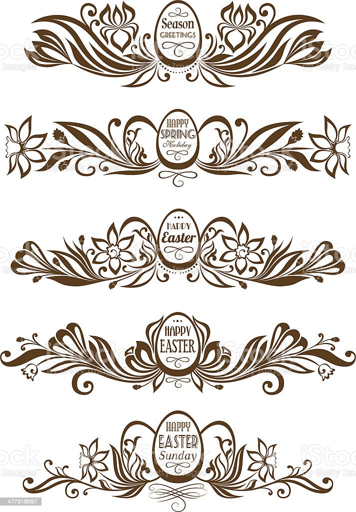 Set of easter decorative borders royalty-free stock vector art