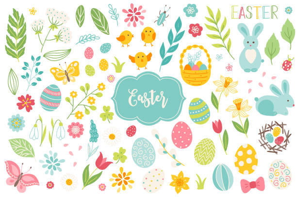 Set of Easter design elements. Eggs, chicken, butterfly, rabbit, tulips Set of Easter design elements. Eggs, chicken, butterfly, rabbit, tulips, flowers, willow, branches, basket, tulips, narcissus. Perfect for holiday decoration and spring greeting cards easter stock illustrations