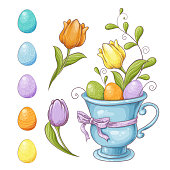 Set of Easter design elements. Eggs, tulips, flowers, willow, branches, basket, tulips, narcissus. Perfect for holiday decoration and spring greeting cards Vector illustration