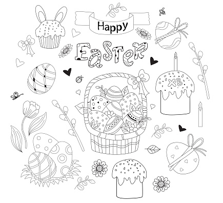Set of Easter doodles - basket with Easter eggs, cupcake, Easter bunny, flowers and leaves, pussy willow and tulips, festive decor. Vector. Black line, outline. Cute decor for Easter design