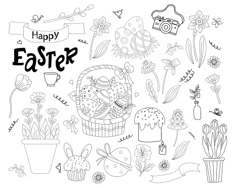 Set of Easter doodles - basket with Easter eggs, cupcake, Easter bunny, flowers and leaves, pussy willow and tulips, dandelion and daffodil. festive decor. Vector. line, outline