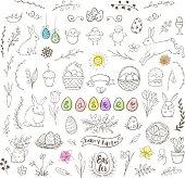 Set of decorative hand drawn Easter doodle elements for design. Vector kit.