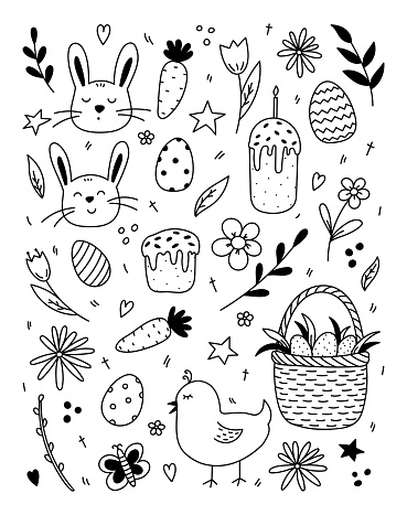 Set of Easter doodles with cute bunnies and a chick, Easter eggs, Easter cakes, spring twigs and flowers