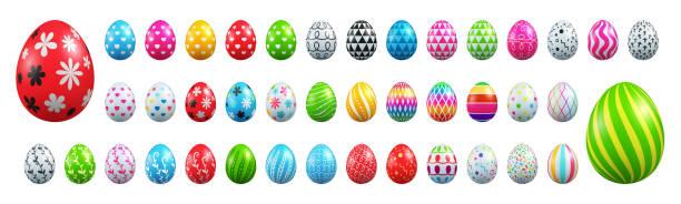 흰색 바탕에 부활절 달걀 컬렉션의 집합입니다. 벡터 일러스트 레이 션 eps10 - 부활절 달걀 stock illustrations
