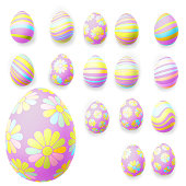 Set of easter eggs isolated on white. EPS 10 vector file included