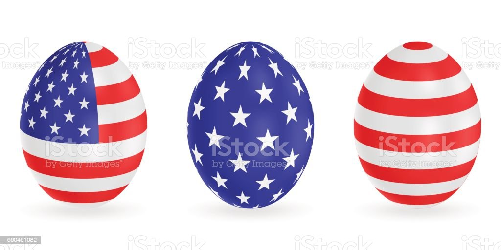 Set Of Easter Eggs In The Colors Of The Usa Flag Vector 9d Icons Festive  Illustration For Your Design Stock Illustration - Download Image Now