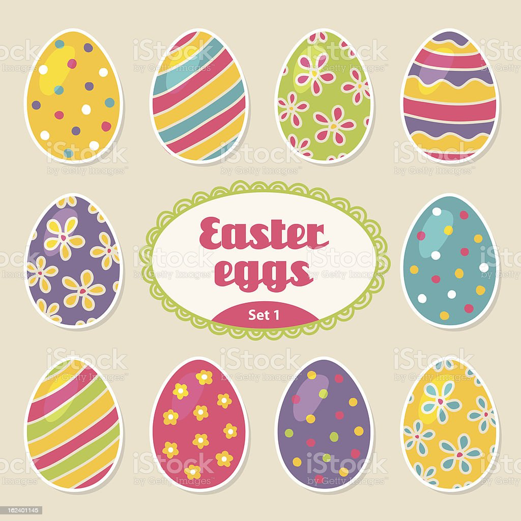 Set of easter eggs royalty-free stock vector art
