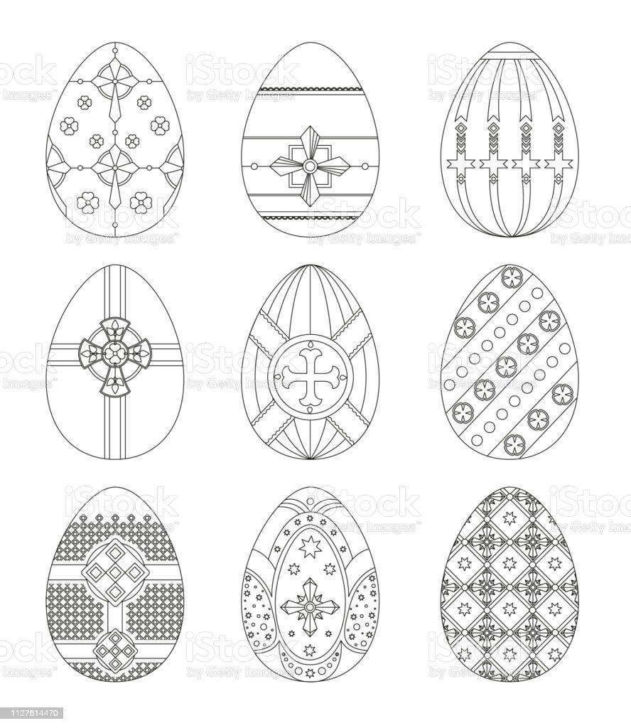 Set Of Easter Eggs With Patterns Using Different Types Of