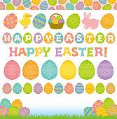 Set of Easter elements. Easter eggs.