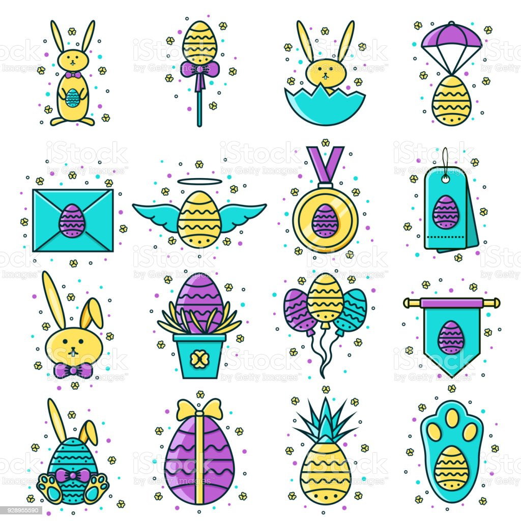 Set Of Easter Flat Color Line Icons Decorated Eggs Bunny Sale Tag
