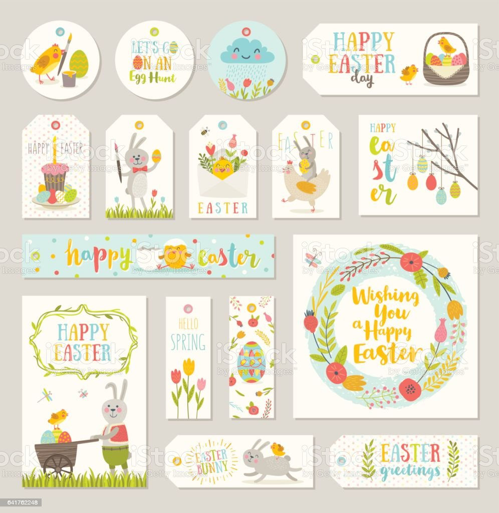Set of easter gift tags and labels stock vector art 641762248 istock set of easter gift tags and labels royalty free stock vector art negle Image collections