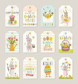 Set of Easter gift tags and labels with cute cartoon characters and type design . Easter greetings with bunny, chickens, eggs and flowers. Vector illustration.