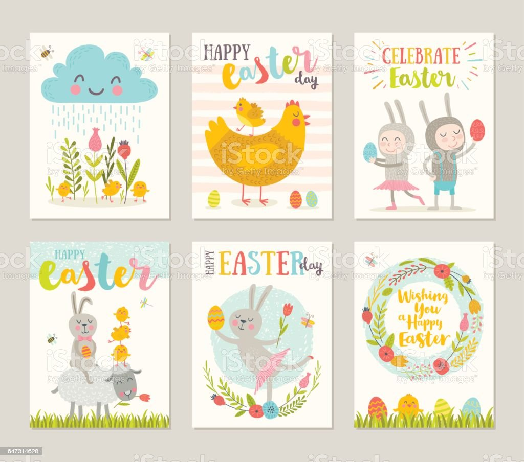 Set of Easter greeting card vector art illustration