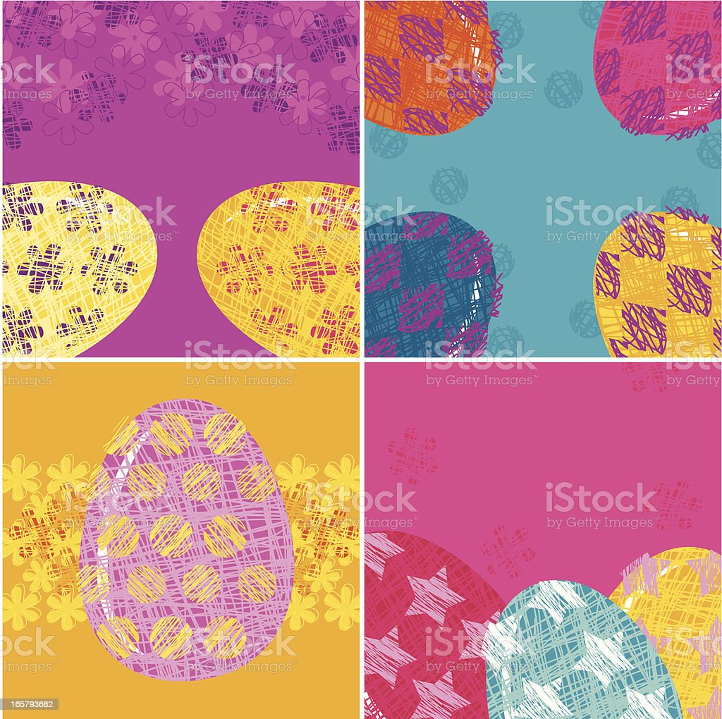 Set of Easter Greeting Cards vector art illustration