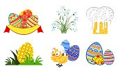 set of easter icons in vector format eps10