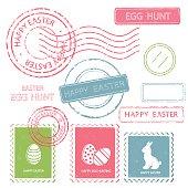 Set of Easter postal stamps. Vector illustration.