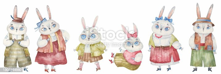 istock set of Easter rabbits in national costumes with bows and hats, childrens illustration in watercolor 1304864592