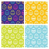 Set of Easter seamless pattern with linear multicolor eggs. Vector holiday backgrounds. Design for textile print, wrapping paper or web.
