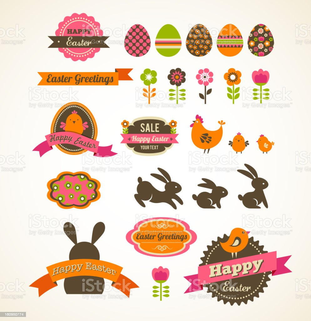 Set of easter vintage elements, banner, labels and frames vector art illustration