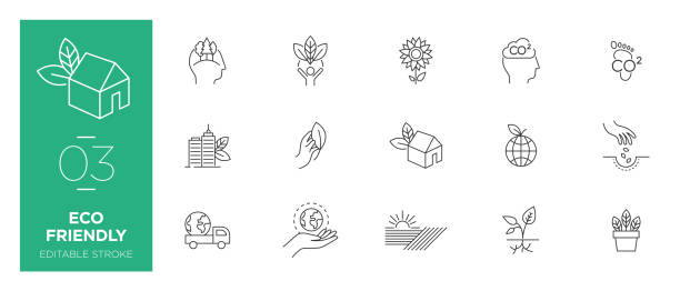 Set of Eco friendly line icons - Modern icons Set of Eco friendly line icons - Modern icons urban gardening stock illustrations