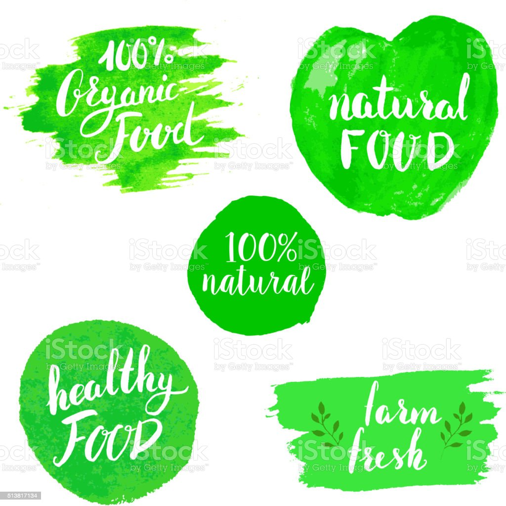 Set of Eco healthy Food labels. vector art illustration