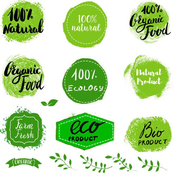 ein satz von öko-labels gesunde speisen. - bio lebensmittel stock-grafiken, -clipart, -cartoons und -symbole