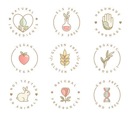 Set of eco product logos, natural organic icons.