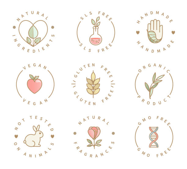 Set of eco product logos, natural organic icons. Set of eco product logos, natural organic healthy food and drink icons,labels for restaurant menu, packaging,packing.Healthy lifestyle. Handmade, gluten, sls and gmo free, not tested on animals.Vector ethical consumerism stock illustrations