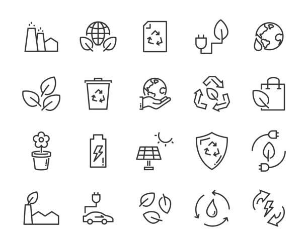 satz von eco-vektor-icons, wie energie, erde, umwelt, natur, wasser - klimaschutz stock-grafiken, -clipart, -cartoons und -symbole