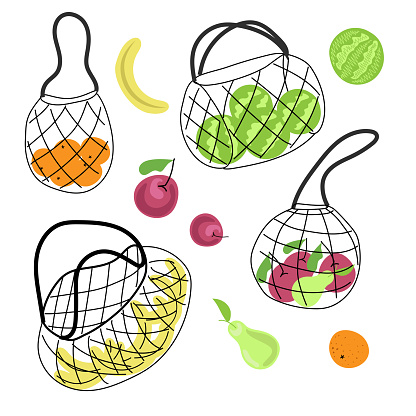 Set of ecological bags for vegetables and fruits. The vector is made in the style of cartoons. Ecology. Shoppers. Respect for nature. Suitable for illustrations on special topics.