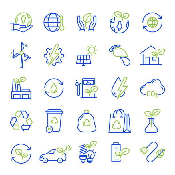 illustrazioni stock, clip art, cartoni animati e icone di tendenza di set of ecology and environment related line icons. editable stroke. simple outline icons. - sustainability icons