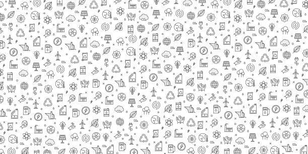 illustrazioni stock, clip art, cartoni animati e icone di tendenza di set of ecology and green energy icons vector pattern design - sustainability icons