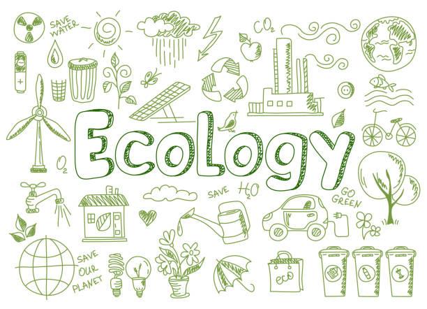 bildbanksillustrationer, clip art samt tecknat material och ikoner med uppsättning av grön energi, ekologi och ekologi problem - ekosystem