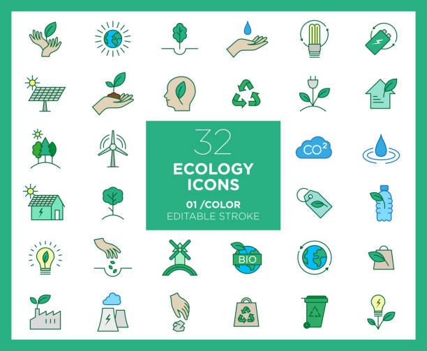 satz von ökologie-symbole in farbe - klimaschutz stock-grafiken, -clipart, -cartoons und -symbole