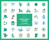 Set of Ecology icons in color