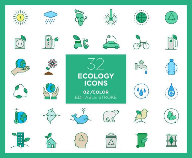 stockillustraties, clipart, cartoons en iconen met set van ecologie iconen in kleur - klimaat