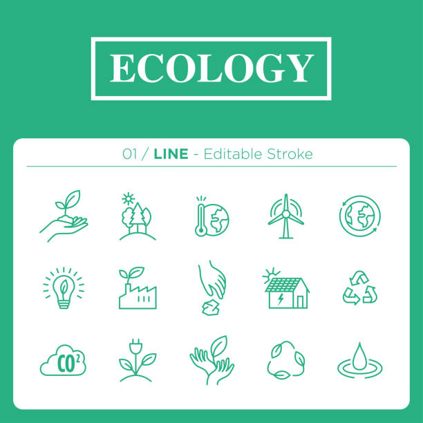 set of ecology icons in line - sustainability stock illustrations