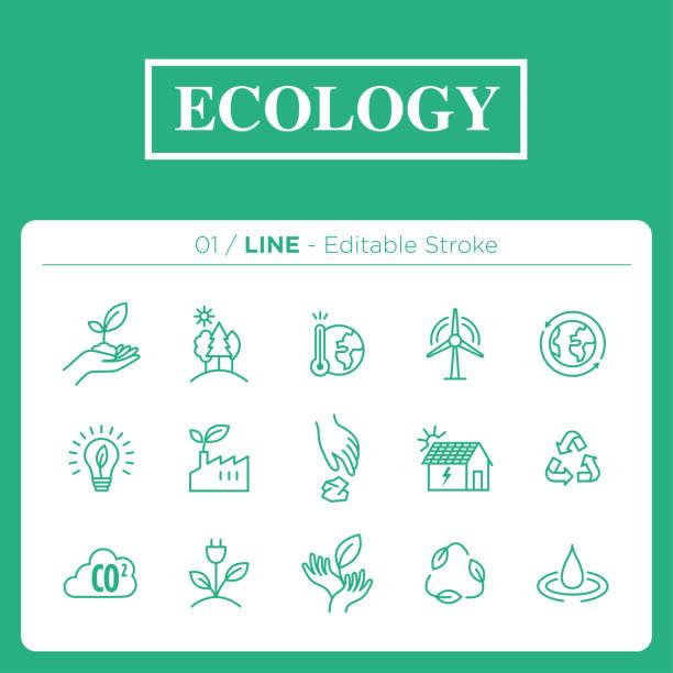 stockillustraties, clipart, cartoons en iconen met set van ecologie iconen in lijn - klimaat