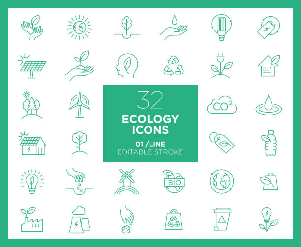 Set of Ecology icons in line Set of Ecology icons in line environmental issues stock illustrations